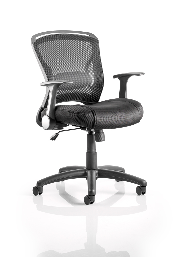 Desk Chairs Zeus Chair Black Fabric Black Mesh Back With Arms OP000140