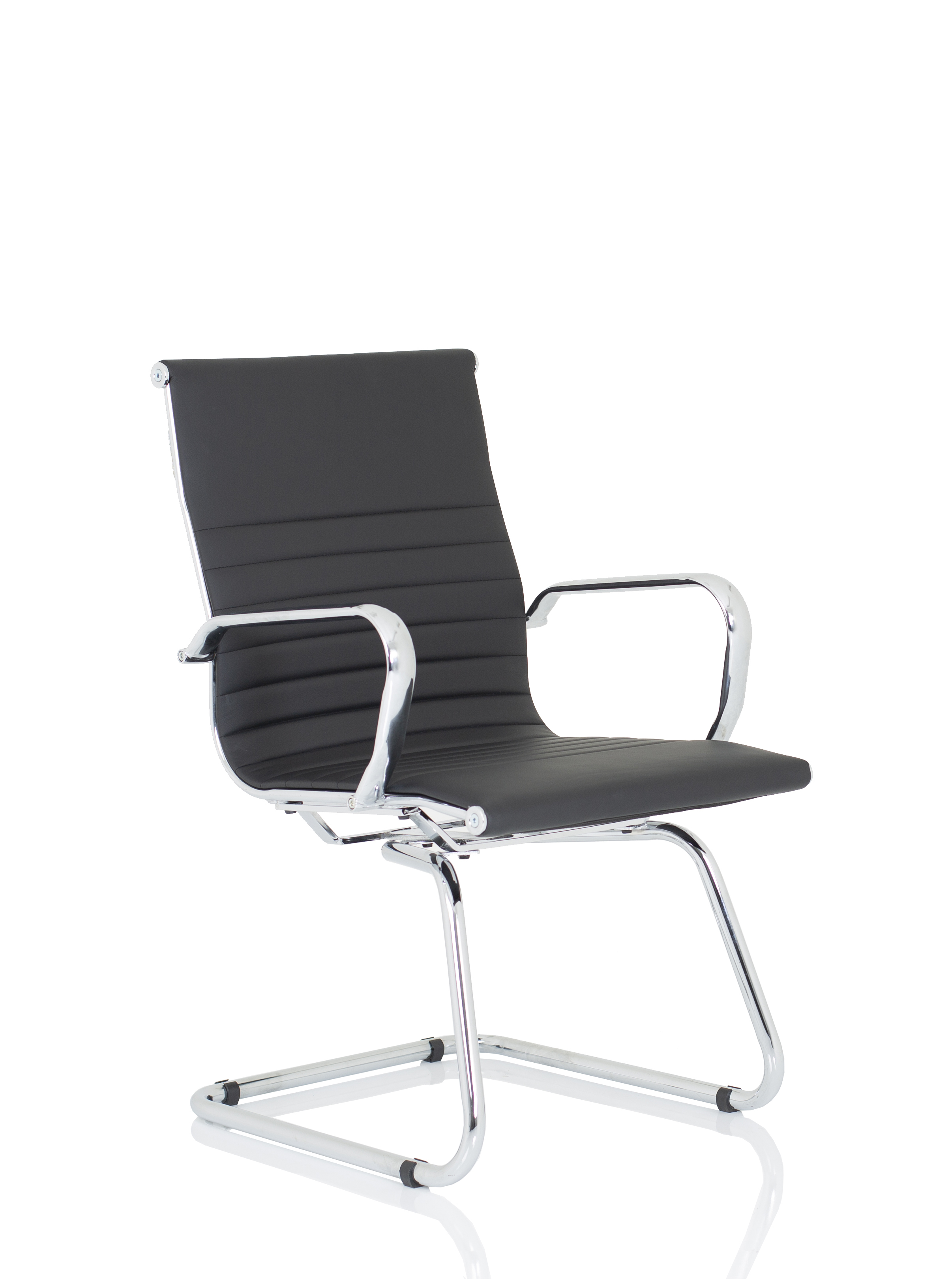 Reception Chairs Nola Black Soft Bonded Leather Cantilever Chair OP000224