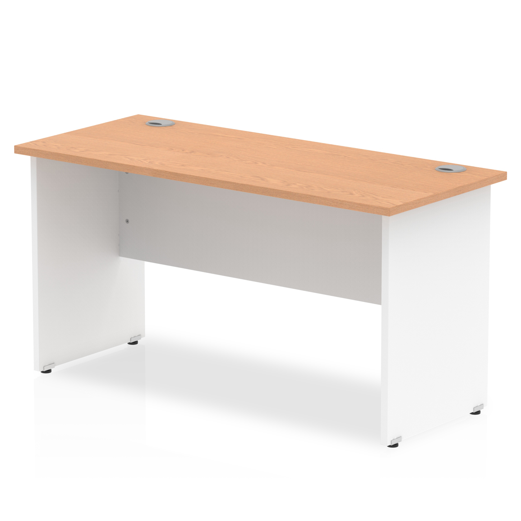 Impulse Panel End 1400/600 Rectangle Desk Oak Top White Panels