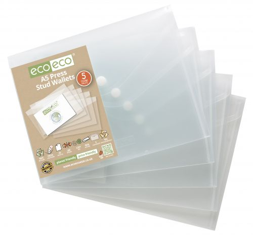 Eco Pack 5 A5 95% Recycled Press Stud Wallets
