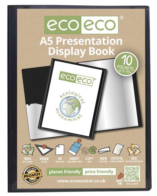 Eco A5 50% Recycled 10 Pocket Presentation Display Book