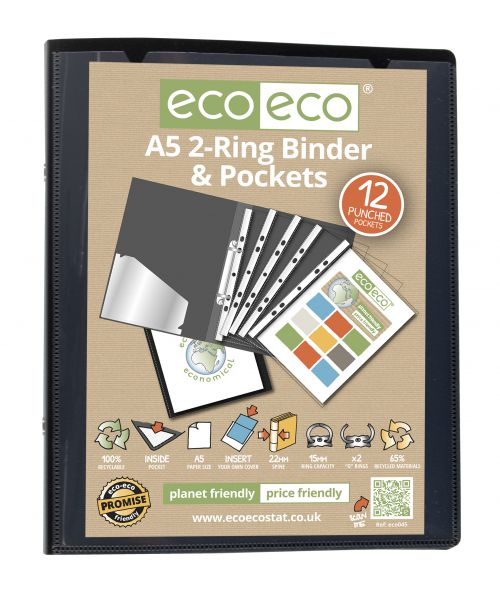 Eco A5 65% Recycled Ring Binder with 12 MultiPunched Pockets