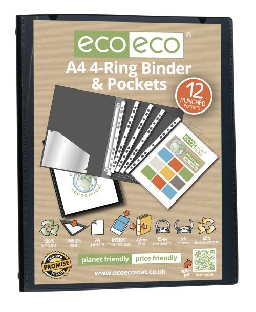 Eco A4 65% Recycled Ring Binder with 12 MultiPunched Pockets