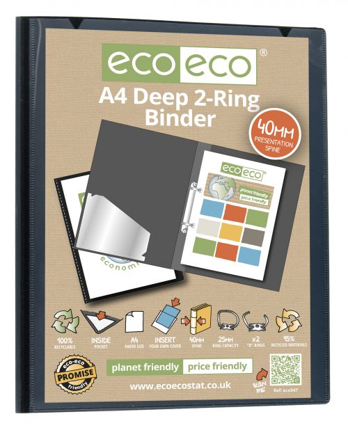 Eco A4 95% Recycled Presentation Deep Ring Binder