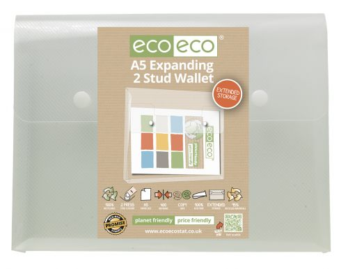 Eco A5 95% Recycled Expanding 2 Stud Wallet