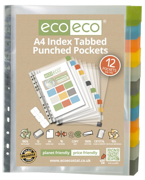 Eco A4 95% Recycled Set 12 Index Tabbed Premier Punched Pkt