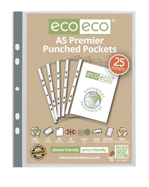 Eco A5 100% Recycled Bag 25 Premier Multi Punched Pockets
