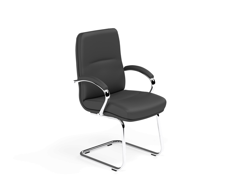 Idaho B-970-01 Low Back Visitor Chair - Missouri Arms FS-SLP Chrome Sled Frame - Lotus Black L001