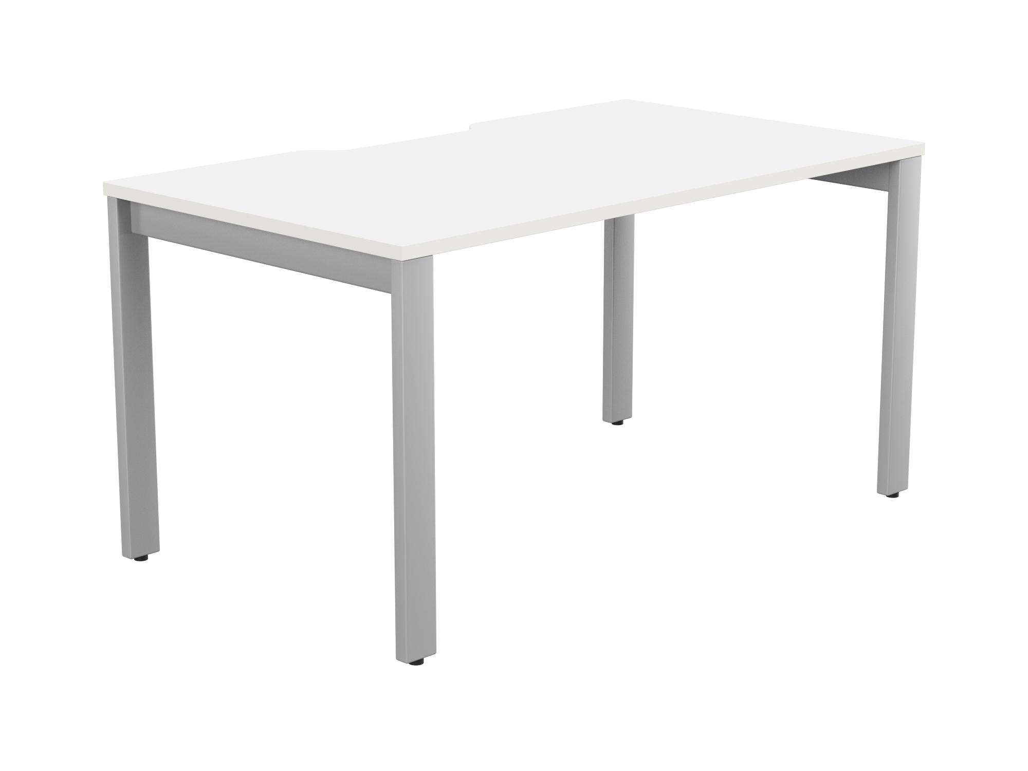 Switch 1 Person Bench Open Leg Scallop Top 1400 x 800 - Silver Frame / White Top