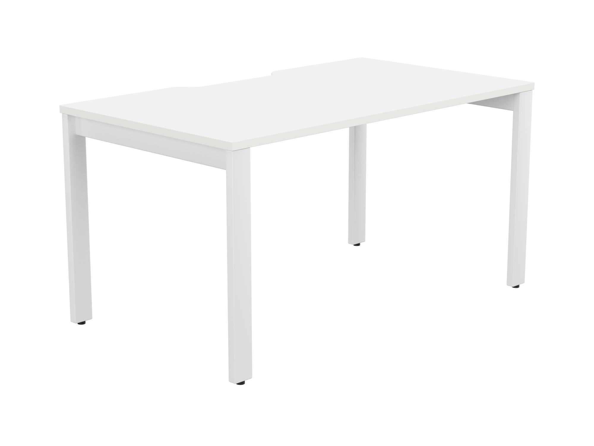 Switch 1 Person Bench Open Leg Scallop Top 1600 x 800 - White Frame / White Top