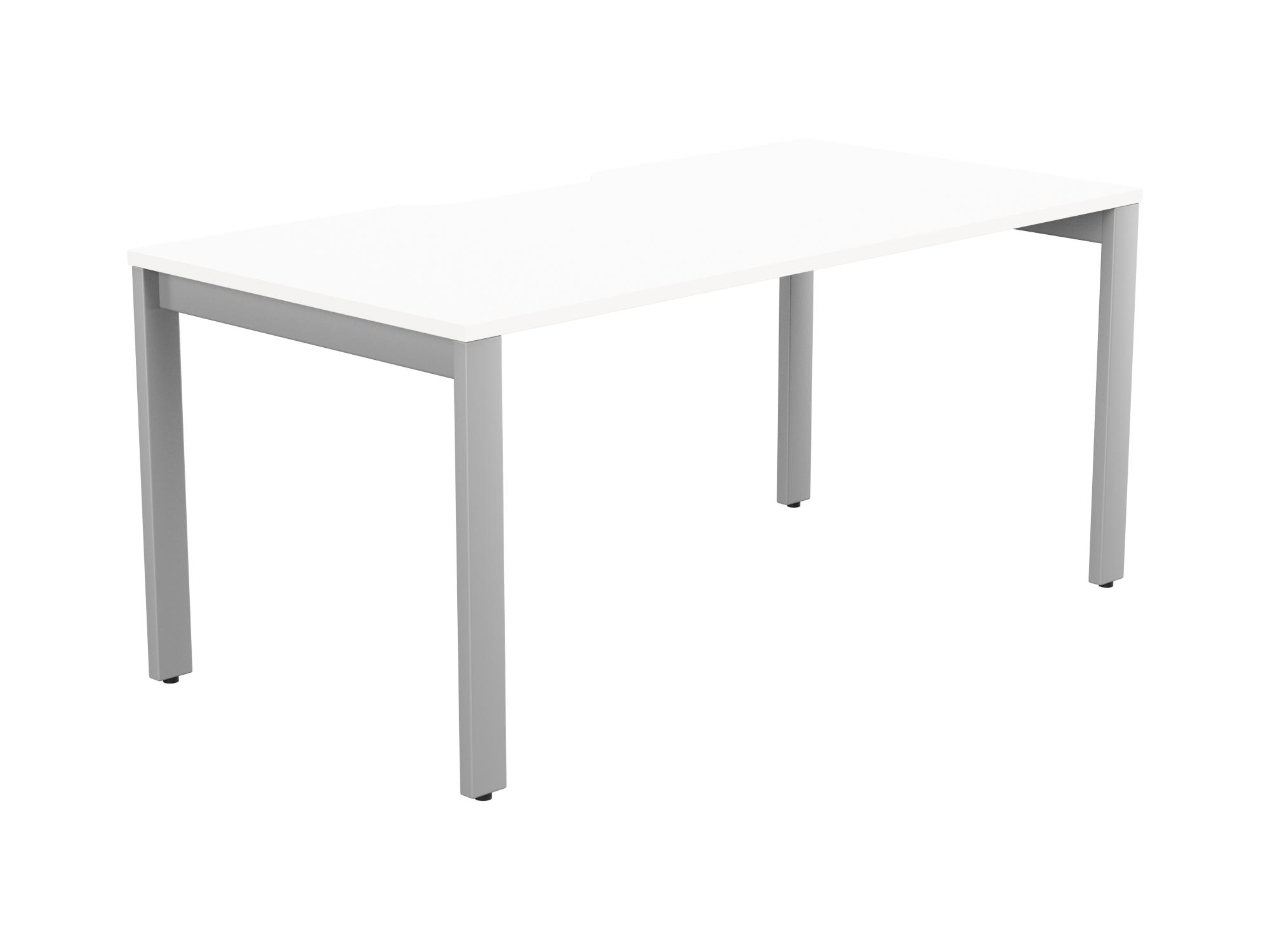 Switch 1 Person Bench Open Leg Scallop Top 1600 x 800 - Silver Frame / White Top