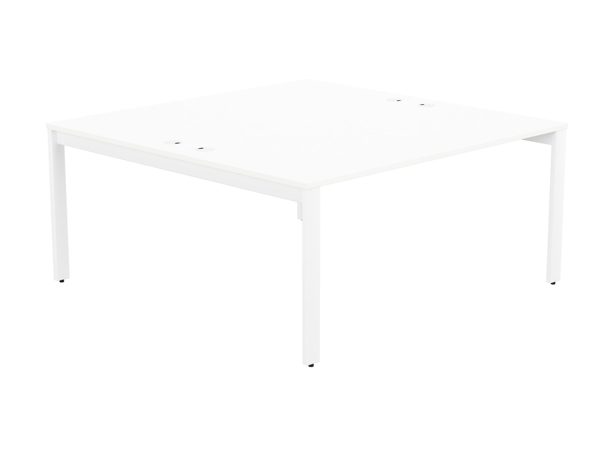 Switch 2 Person Bench Open Leg Portal Top 1600 x 800 - White Frame / White Top
