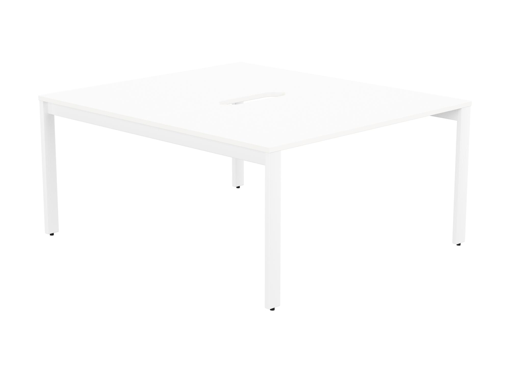 Switch 2 Person Bench Open Leg Scallop Top 1400 x 800 - White Frame / White Top