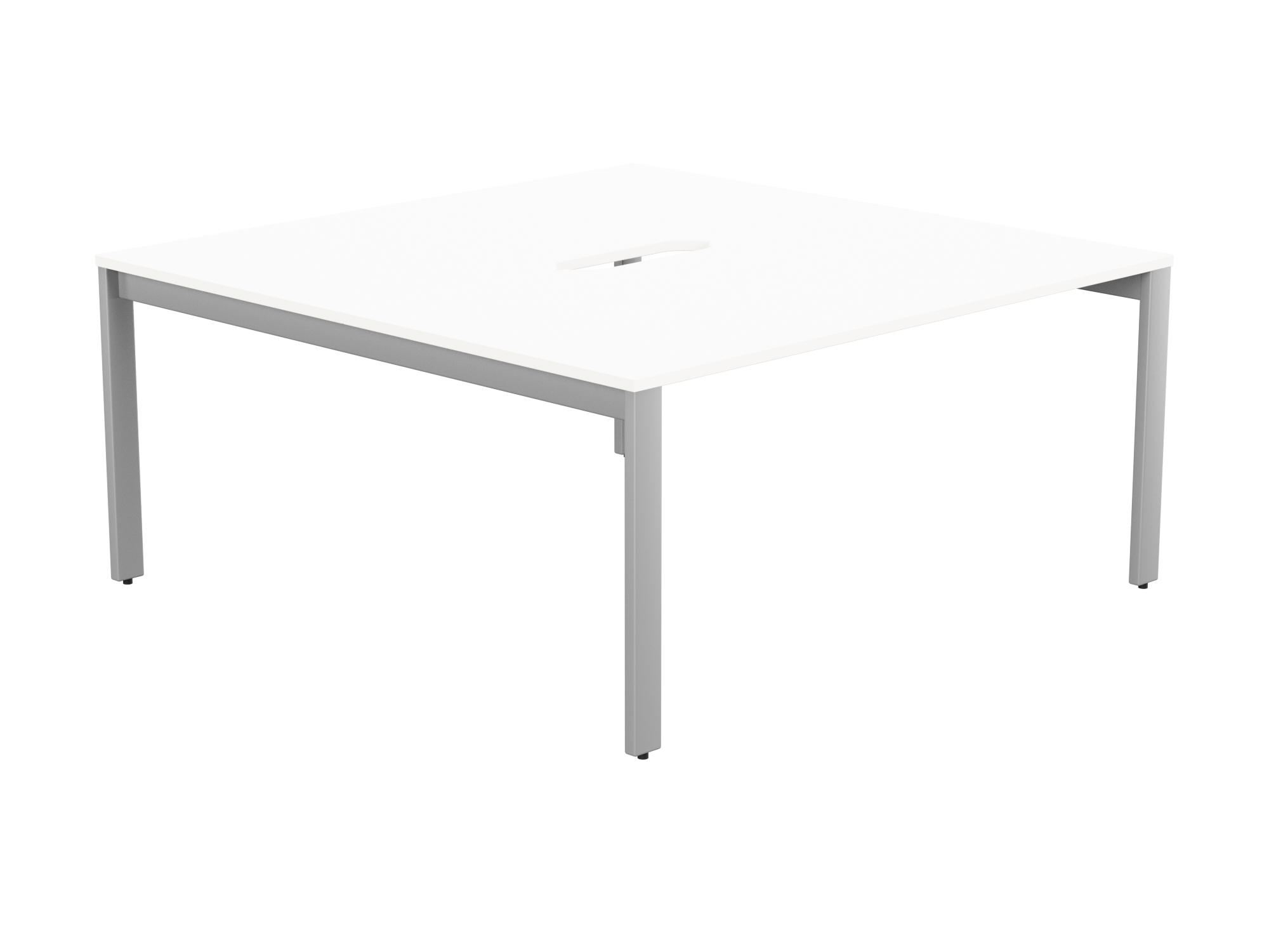 Switch 2 Person Bench Open Leg Scallop Top 1600 x 800 - Silver Frame / White Top