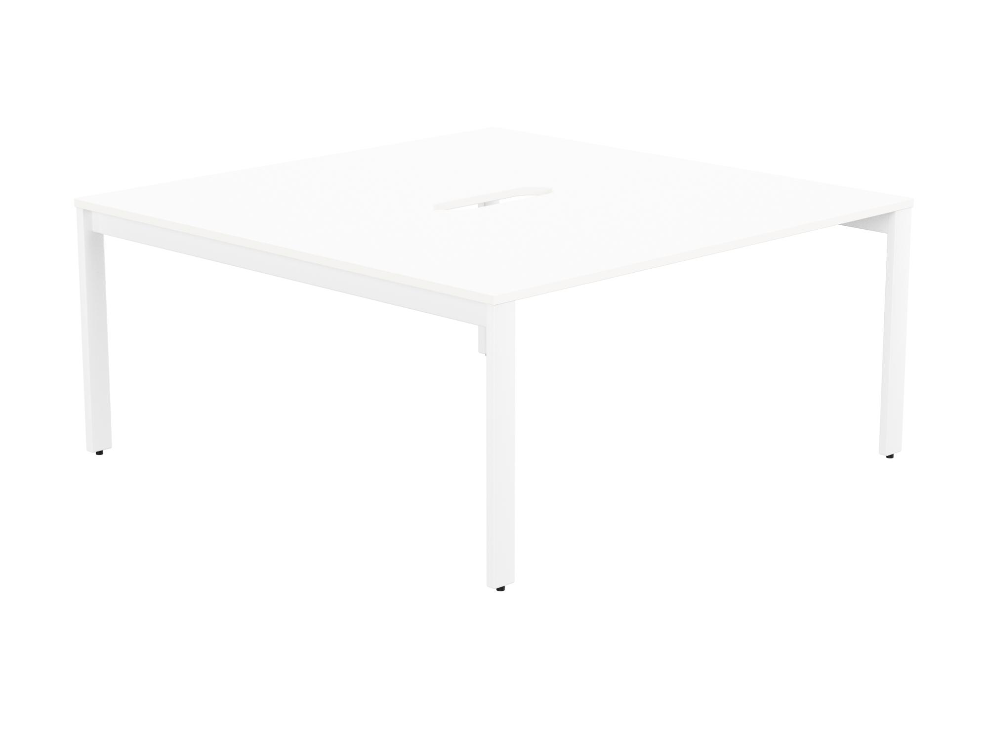 Switch 2 Person Bench Open Leg Scallop Top 1600 x 800 - White Frame / White Top