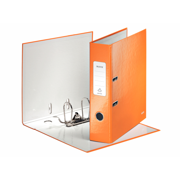 Leitz WOW Lever Arch File 80mm Spine for 600 Sheets A4 Orange Ref 10050044 [Pack 10]