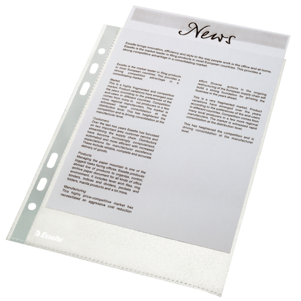 Esselte Multi-punched Pocket A5 50 Micron Pack 100