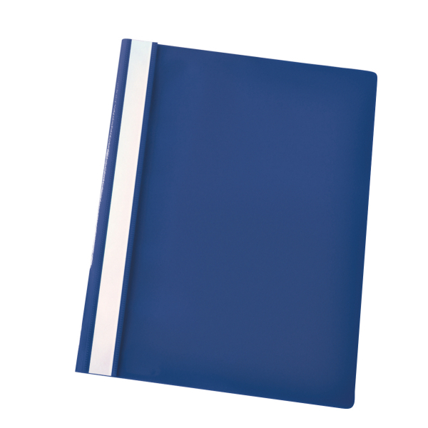Esselte Report Flat File Lightweight Plastic Clear Front A4 Dark Blue Ref 28315 [Pack 25]