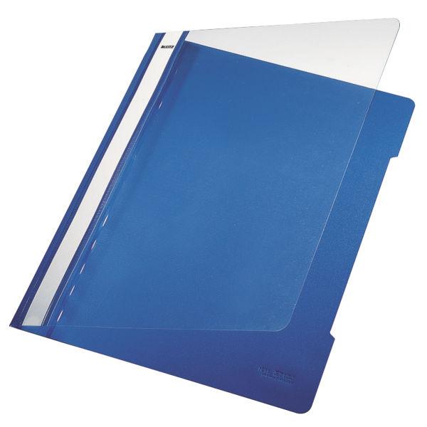 Leitz Standard Data Files Semi Rigid PVC Clear Front 20mm Title Strip A4 Blue Ref 4191-00-35 [Pack 25]