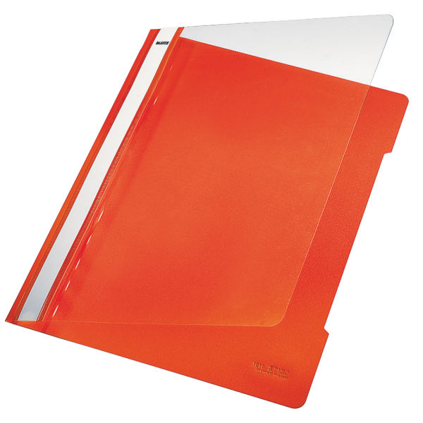 Leitz Standard Data Files Semi Rigid PVC Clear Front 20mm Title Strip A4 Orange Ref 4191-00-45 [Pack 25]