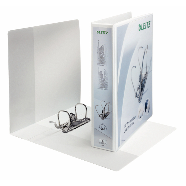 Leitz Presentation Mini Lever Arch File 180 Degree Opening 50mm Spine A4 White Ref 42260001 [Pack 10]