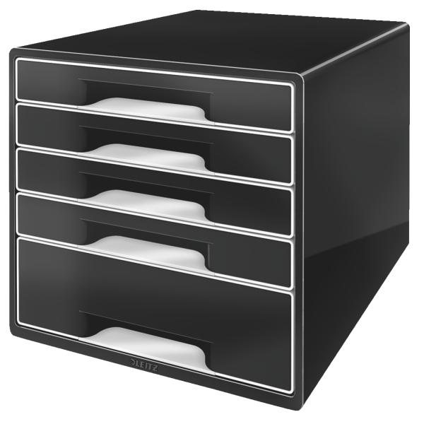 Leitz WOW 5 Drawer Desk Cube Black Ref 52530095