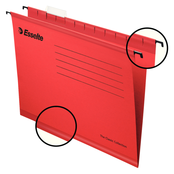 Suspension File Esselte Classic Suspension File Foolscap Red (PK25)