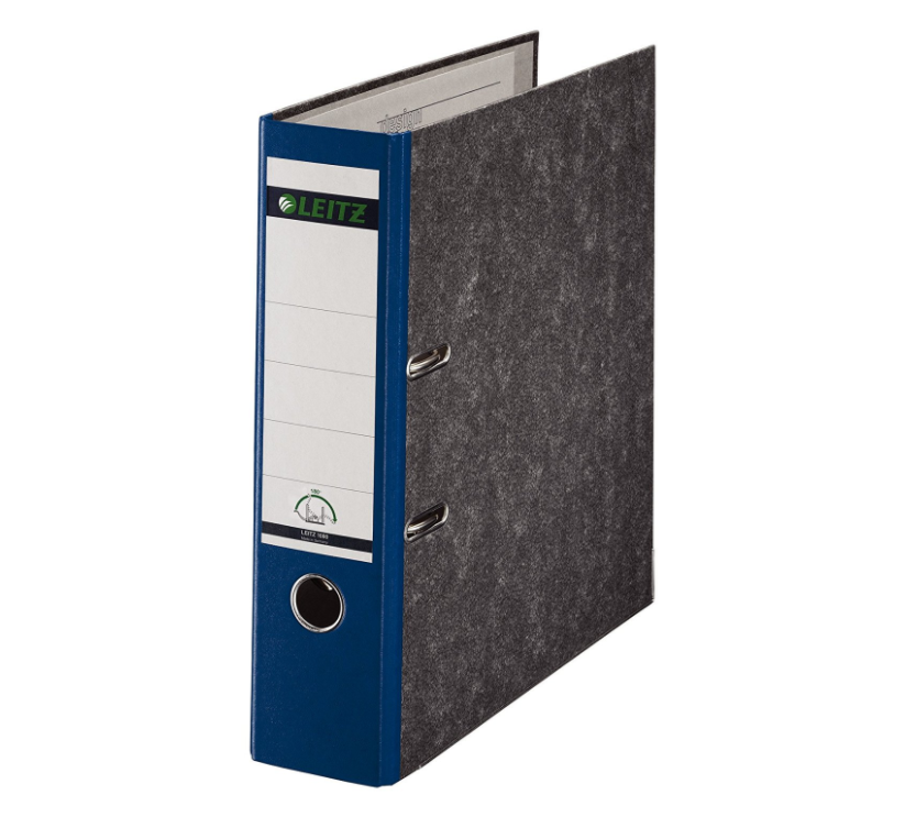 Leitz Paper-on-Board Lever Arch Foolscap 80mm Blue PK10