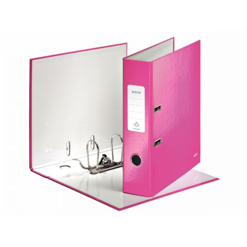 Leitz Wow Lever Arch File A4 85mm Pink PK10