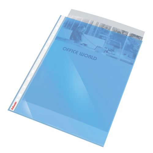 Esselte Coloured Punched Pocket Polypropylene Top-opening 55 Micron A4 Blue Ref 47205 [Pack 10]