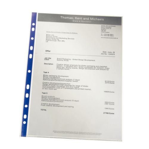 Leitz Premium Presentation Pocket Blue Strip Top and Side-opening 75 Micron A4 Clear Ref 62011 [Pack 25]