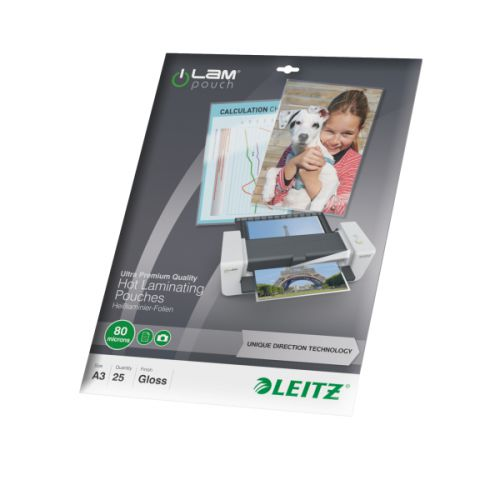Leitz Laminator Pouch 160 Micron A3 Clear Ref 74860000 [Pack 25]