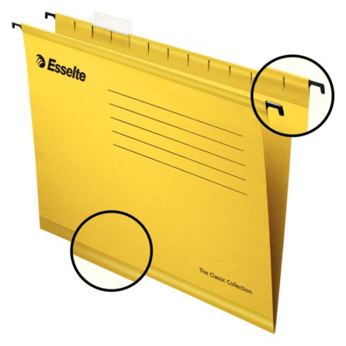 Esselte Classic Suspension File Foolscap Yellow (PK25)