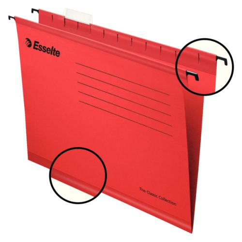Esselte Classic Suspension File Foolscap Red (PK25)