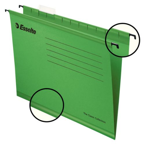 Esselte Classic Suspension File Foolscap Green (PK25)