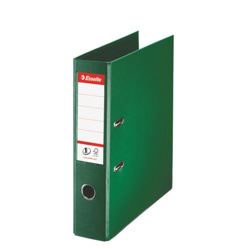 Esselte FSC No. 1 Power Lever Arch File PP Slotted 75mm Spine A4 Green Ref 811360 [Pack 10]