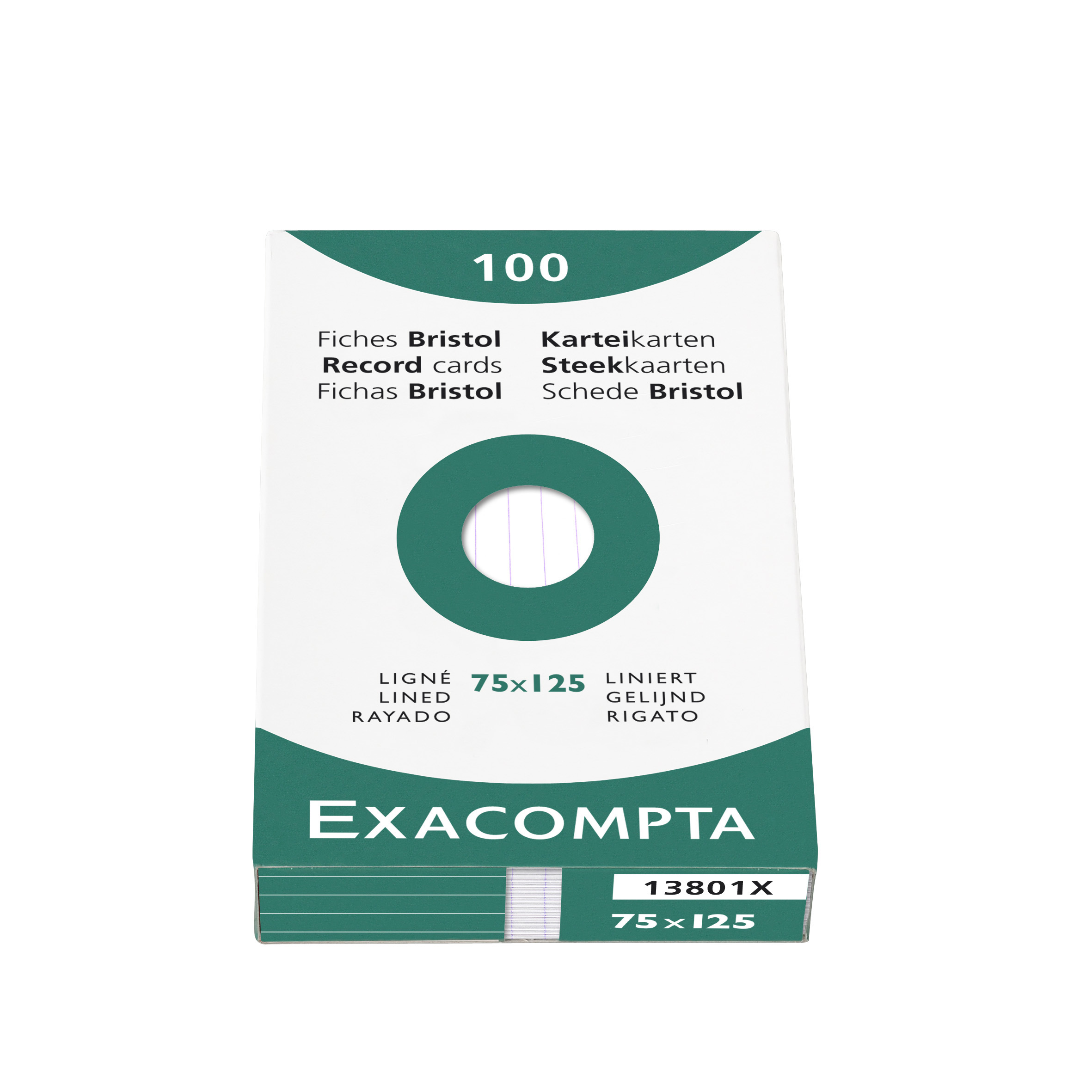 Exacompta Record Cards Lined 75X125MM WT