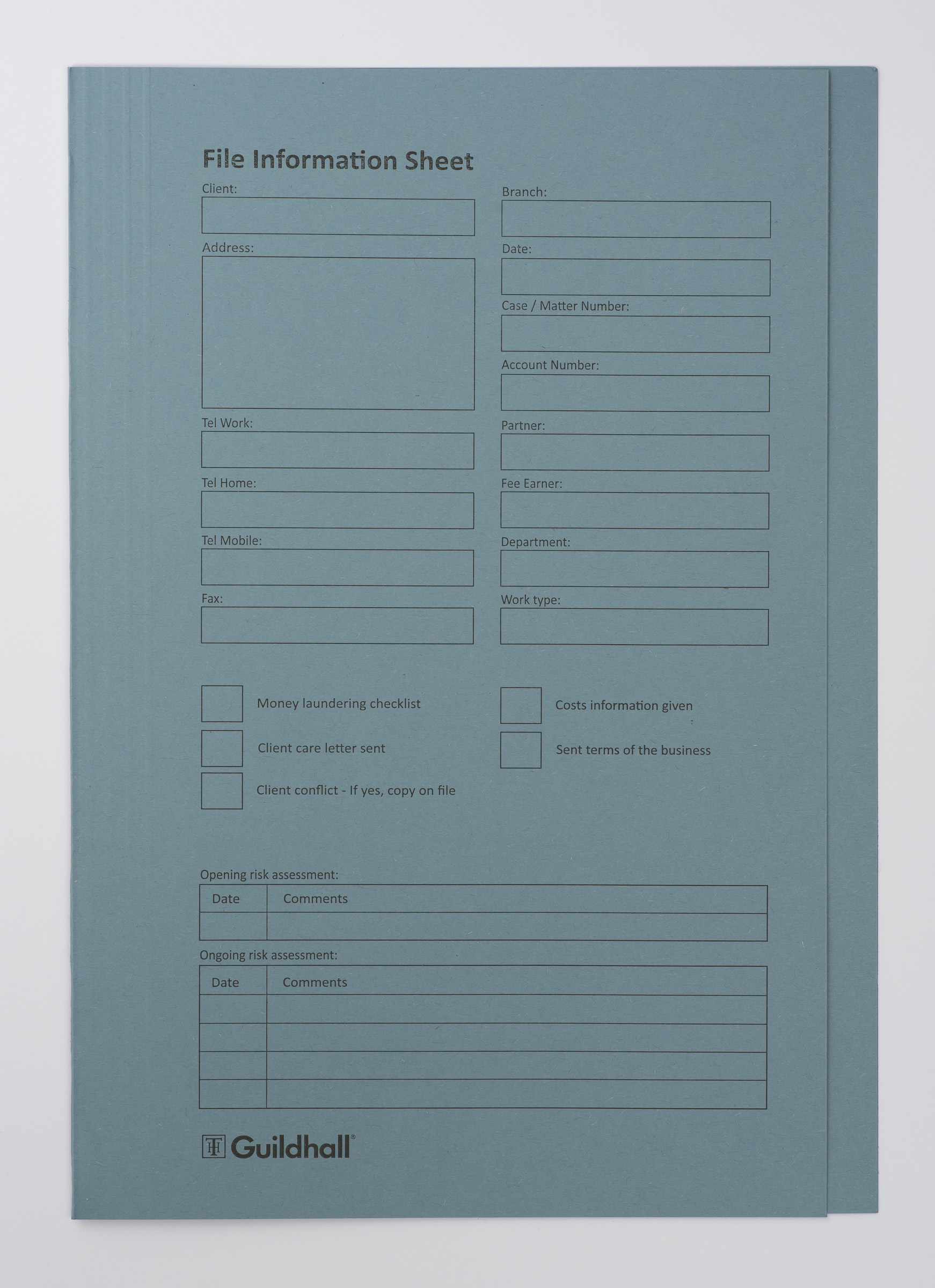 Guildhall Pre-print Sq Cut Fold BL PK100