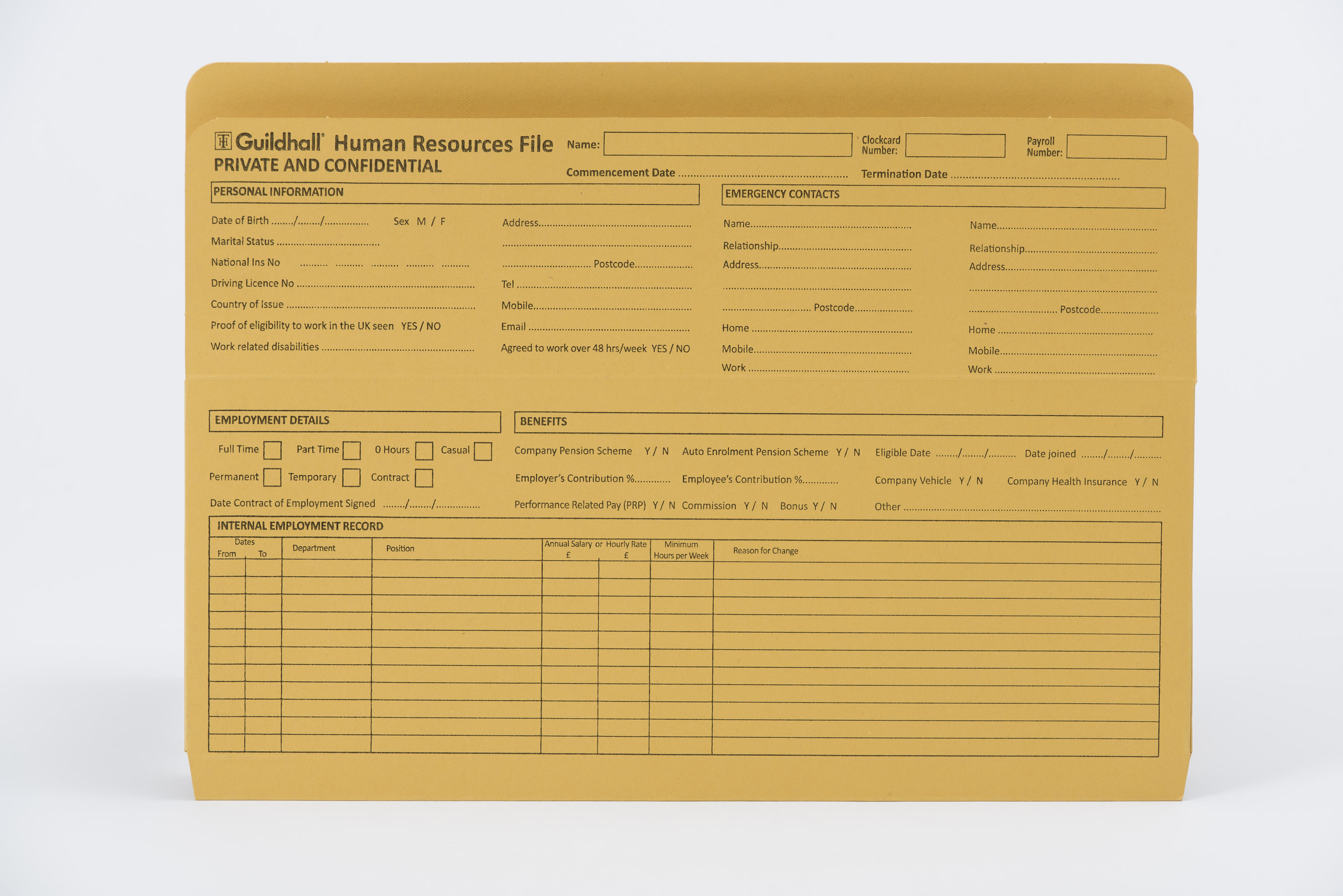 Guildhall Pre-printed HR File PK50