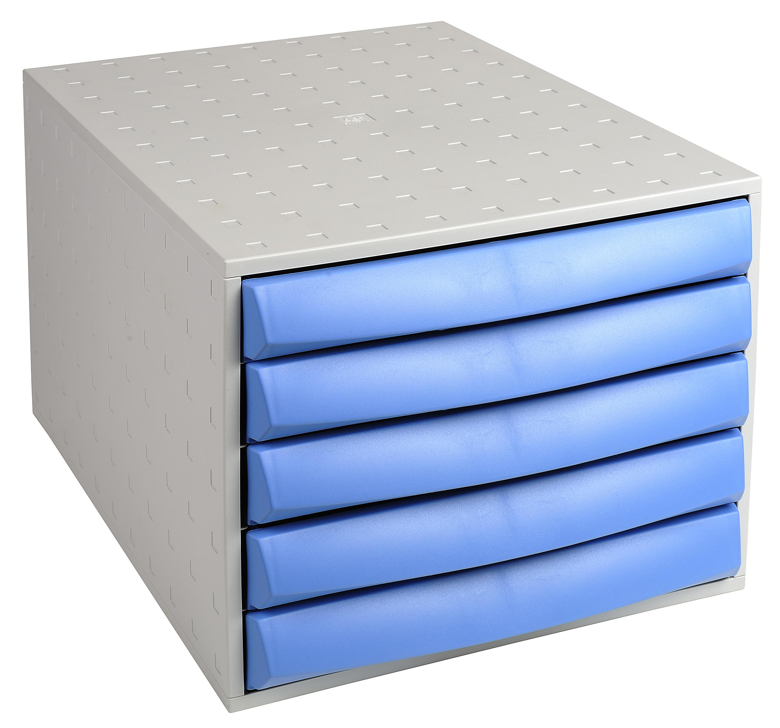 Drawers Exacompta The Box Closed Light Grey/Ice Blue