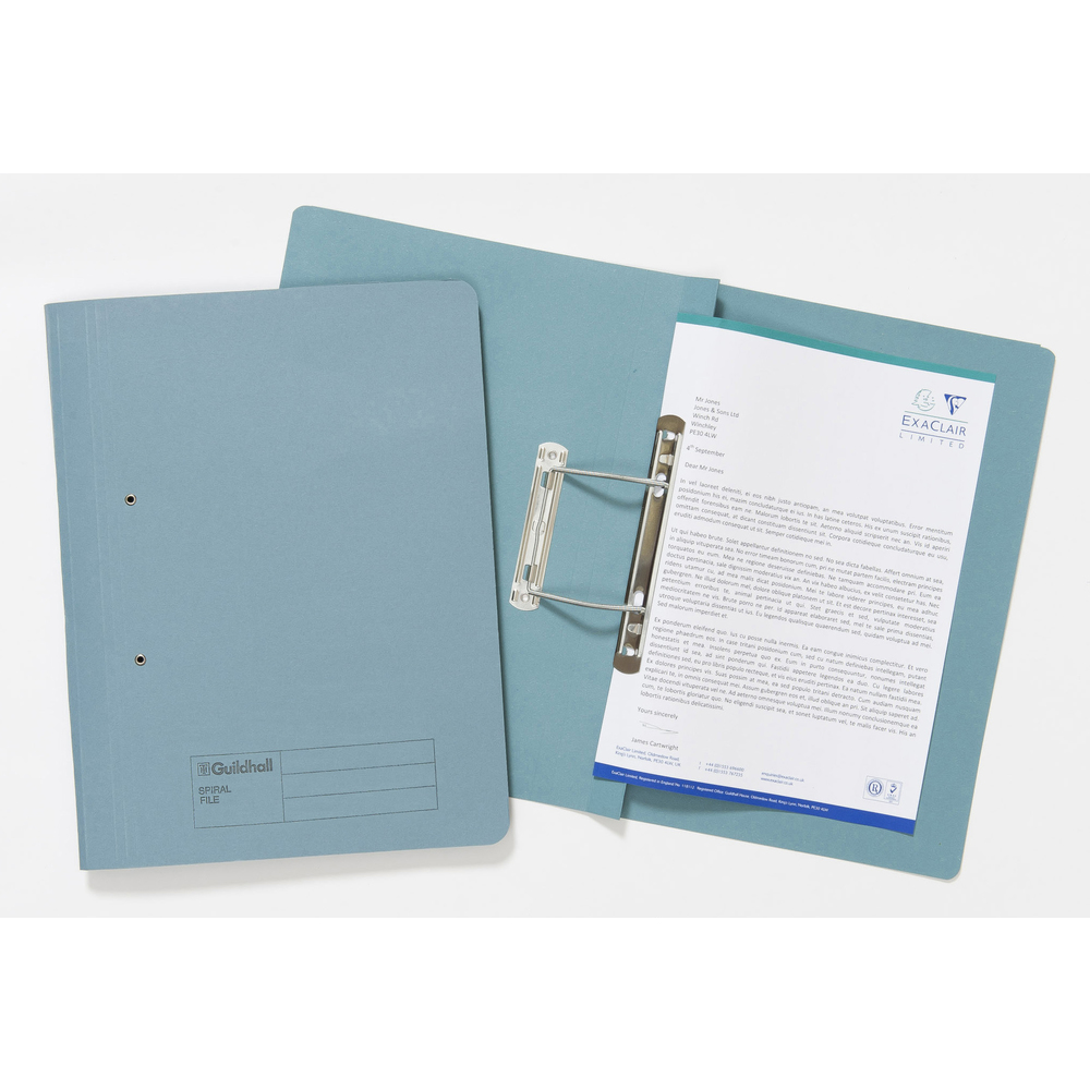 Guildhall Transfer File 285gsm Foolscap Blue (Pack of 25) 346-BLUZ