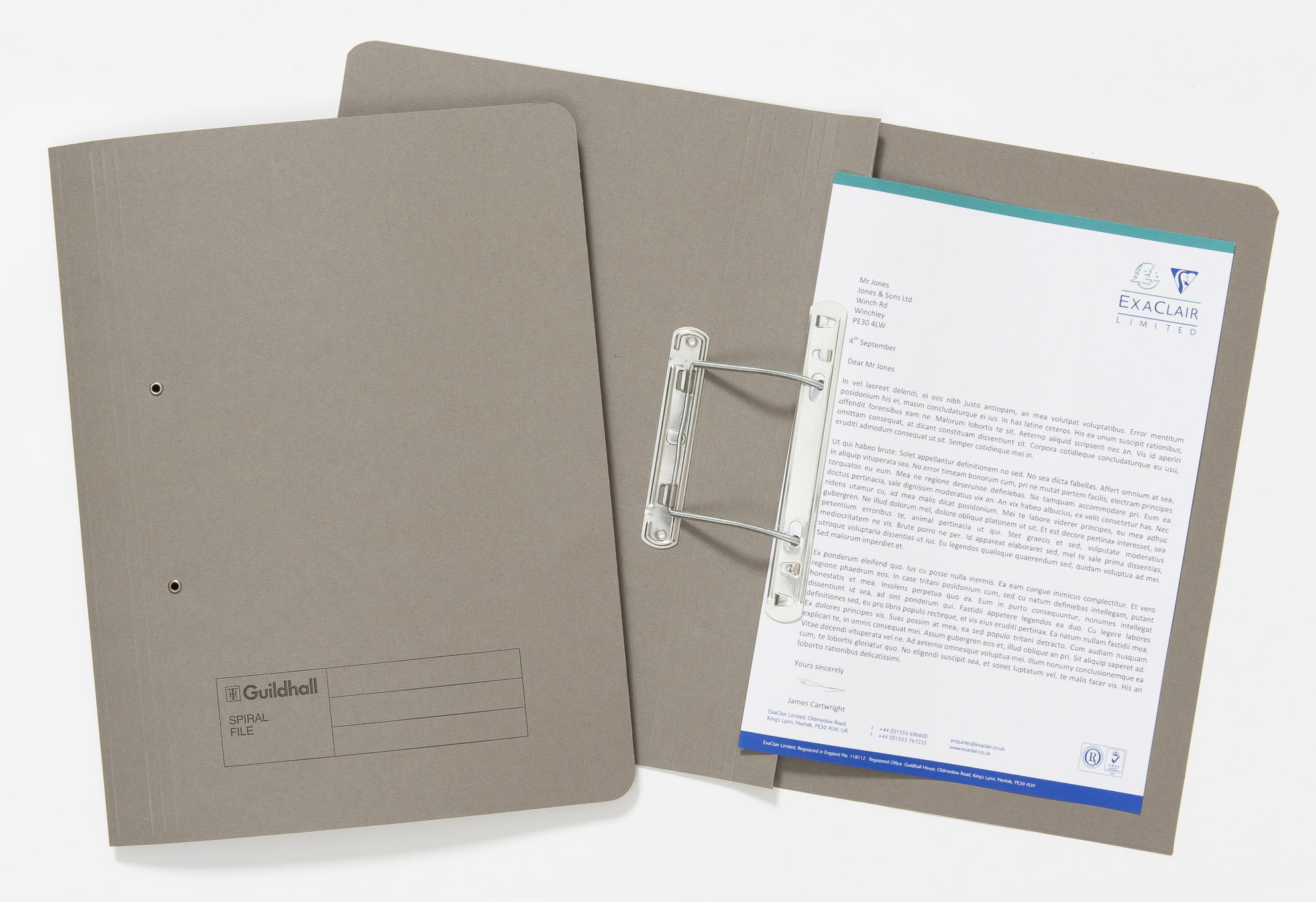 Guildhall Sprial File Foolscap 285gsm Grey PK25