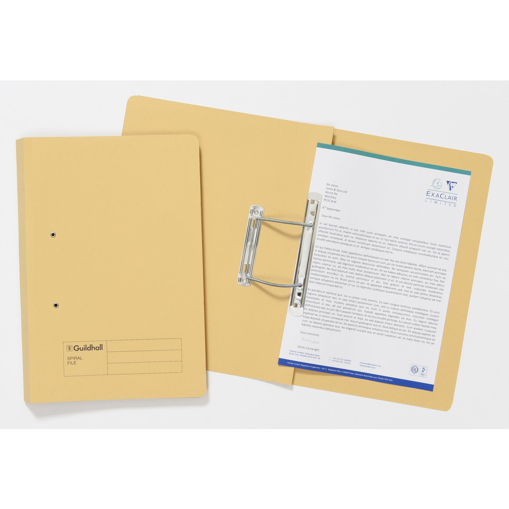 Guildhall Sprial File Foolscap 285gsm Yellow PK25