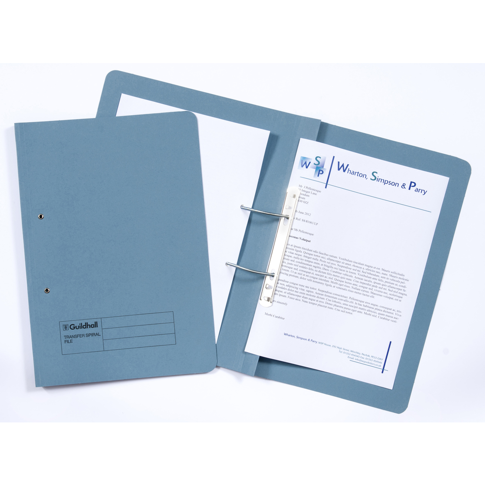 Legal Filing Guildhall Spiral Files 315gsm 350x242mm Blue PK50