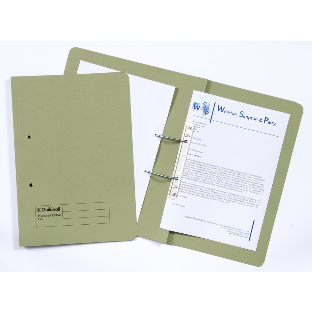 Legal Filing Guildhall Transfer Spring Files 38mm Foolscap Green PK50