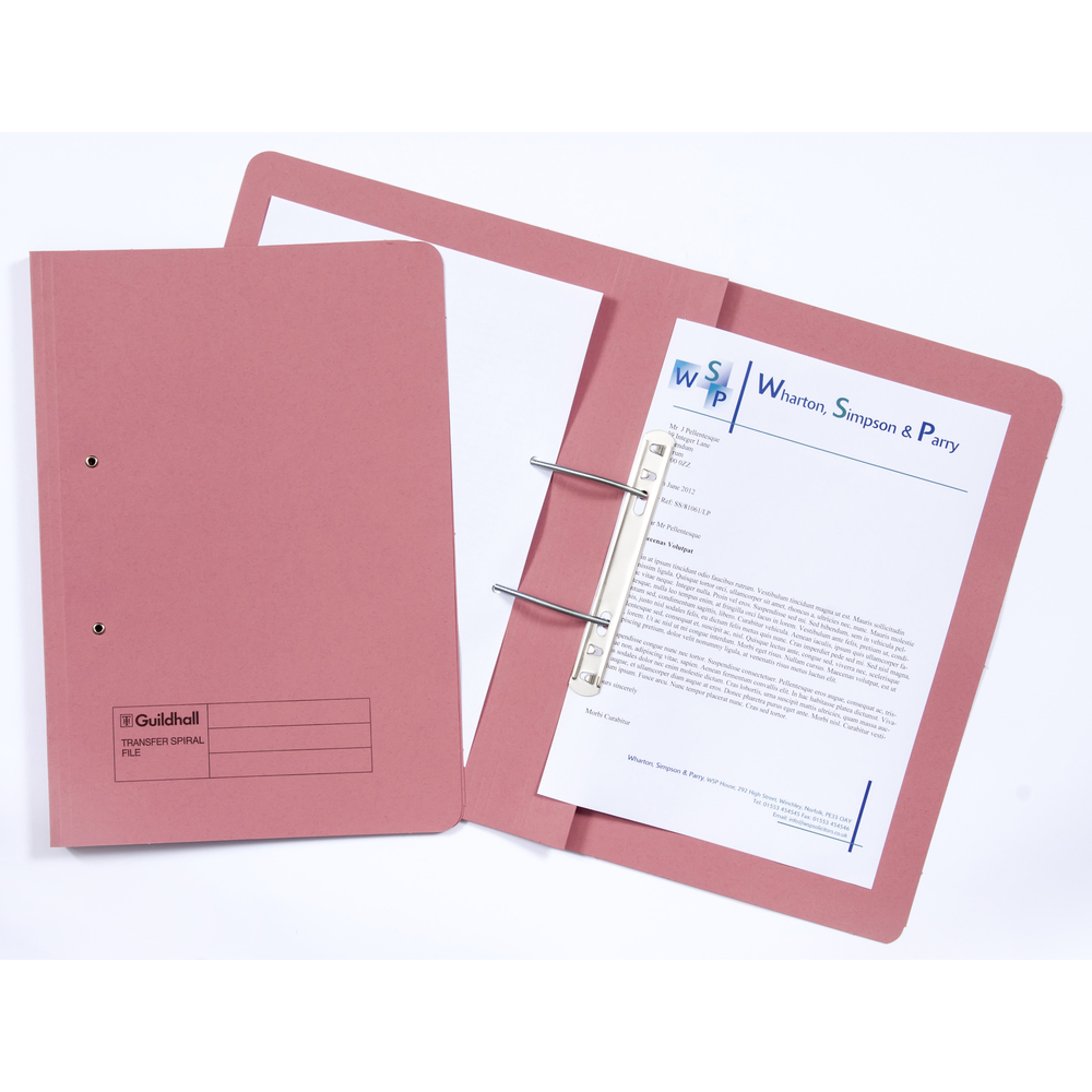 Legal Filing Guildhall Transfer Spring Files 38mm Foolscap Pink PK50