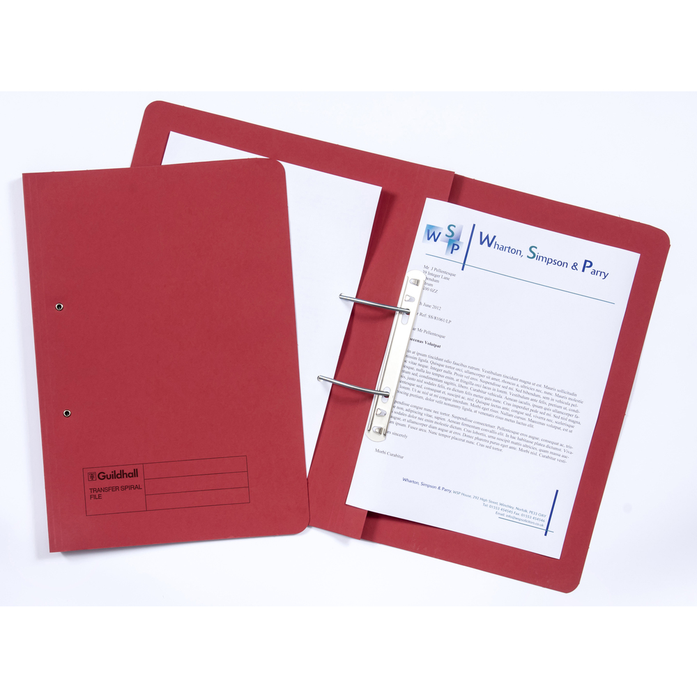 Legal Filing Guildhall Transfer Spring Files 38mm Foolscap Red PK50