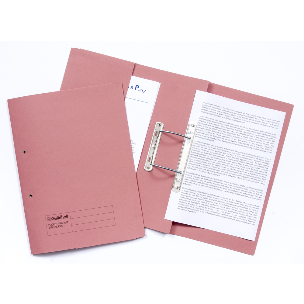 Legal Filing Guildhall 38mm Transfer Spring Files Foolscap Pink PK25
