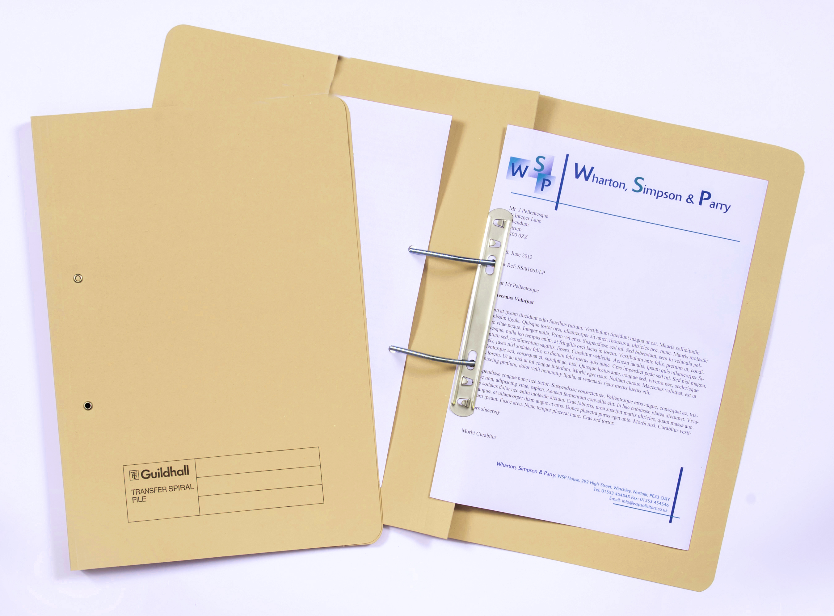 Legal Filing Guildhall 38mm Transfer Spring Files Foolscap Yellow PK25