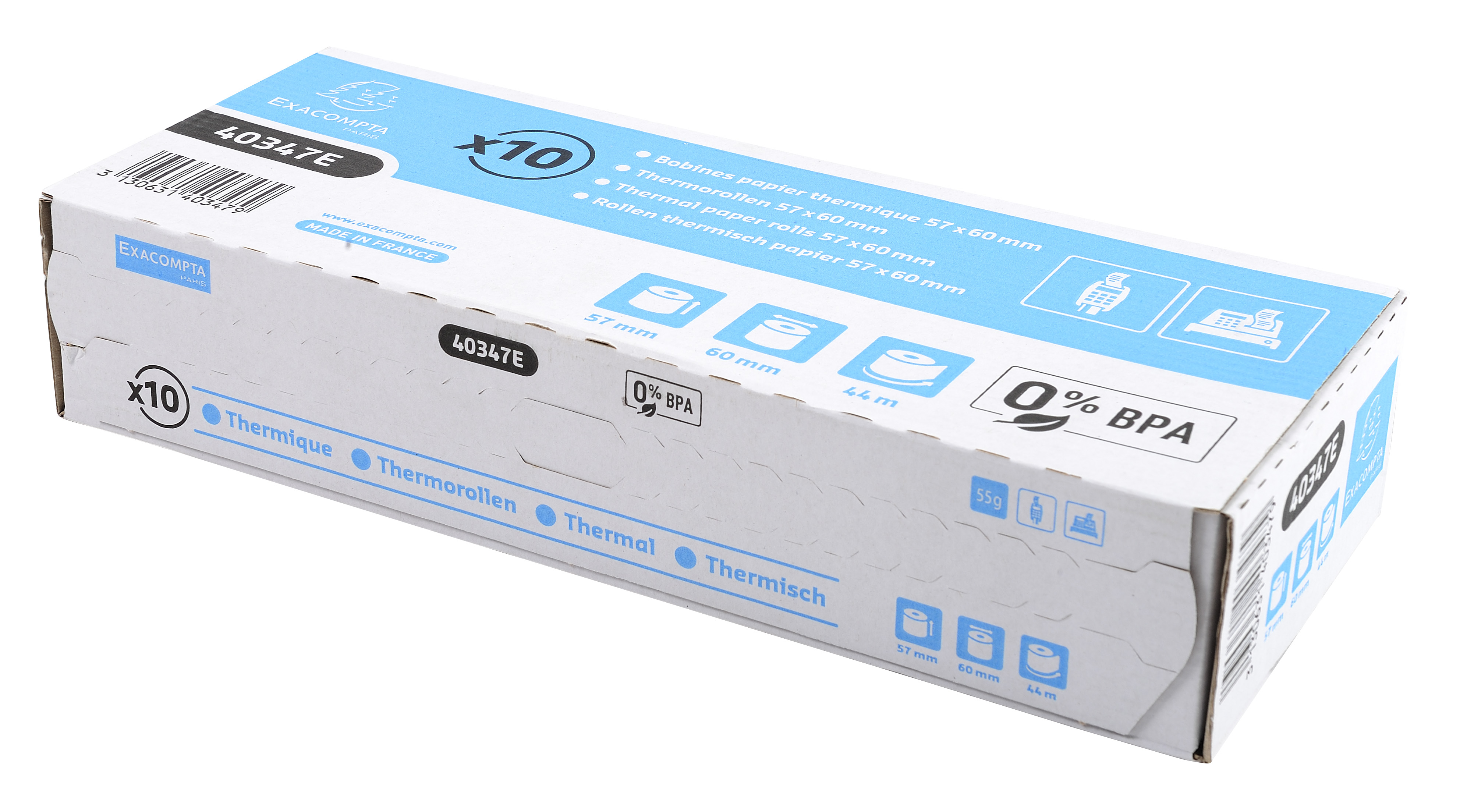 Tally Rolls Thermal Rolls BPA Free 1 ply 55g 57x60x12 PK10